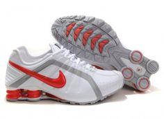 Men's Nike Shox Junior White Fire Red Grey Shoes