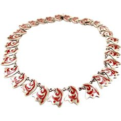 Los Castillo Esmalte A Feugo Sterling Silver Necklace offered by 2Hearts Jewelry & Accessories on Ruby Lane