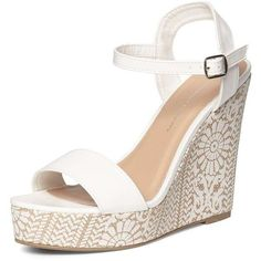 Dorothy Perkins White 'Ruby' Printed Wedges (€42) ❤ liked on Polyvore featuring shoes, sandals, white, high heel shoes, white wedge sandals, high heel wedge sandals, white wedge shoes and white wedge heel sandals