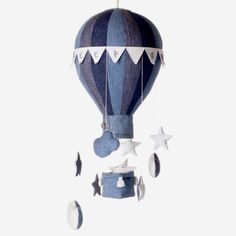 Hot Air Balloon Mobile - Basket, Flags, Stars And Clouds Sewing Pattern