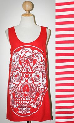 Rose Skull Halloween Red Stripes Off-White Tank Top Sleeveless Women Art Punk Rock T-Shirt Size M
