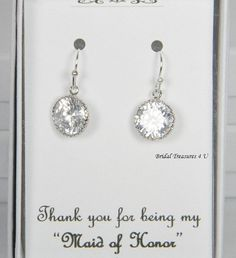 Bridal Earrings Round CZ Earrings Bridal by BridalTreasures4U