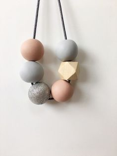 Blush & Grey Bridesmaid Necklace, Bridal Necklace, Wedding Necklace, Glitter Bead Necklace, Minimalist Necklace, Polymer Clay Necklace, Gift