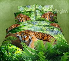 New Arrival High Quality Green Color Tiger Print 4 Piece Bedding Sets  @bedding inn