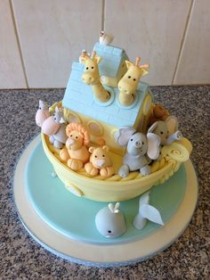 images of noah's ark cake Fancy Cakes, Cute Cakes, Fondant Cakes, Cupcake Cakes, Noahs Ark Cake, Baby Girl Cakes, Fondant Animals, Different Cakes, Cake Pictures