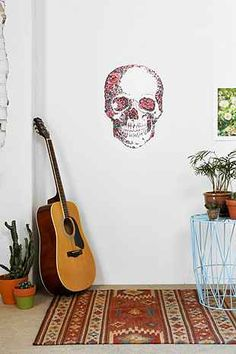 Floral Skull Wall Decal - Urban Outfitters