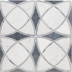Alys Edwards Vanity Collection | Waterjet Gothic Deco | Carrara Bardiglio. Shower inset option.