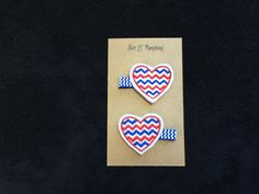 Patriotic Red and Blue Chevron Heart Hair Clips for Girl - Kansas Jayhawks - Arizona Wildcats - Texas Rangers - Chicago Cubs