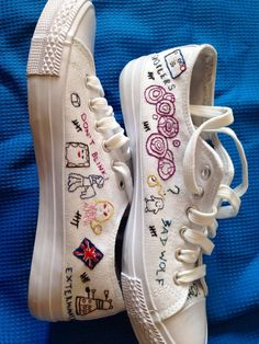 Embroidered Doctor Who sneakers women's sz 8 by PartnerInCrimes
