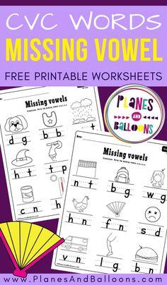 Missing vowel worksheets for kindergarten FREE printable PDF - Planes & Balloons