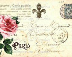 Large digital download Pink Roses in Paris VIntage Postcard collage French Cottage BUY 3 get ne FREE single image