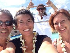 first day in Bora Bora and on our way to Blue Heaven Island - lorraine, erica and peter