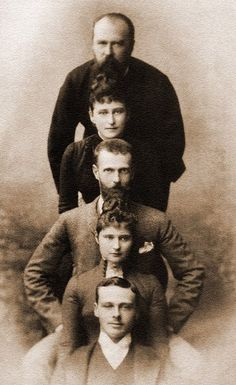 "Gd Ludwig von Hesse with his daughter Gdss Elisabeth ""Ella""  Fyodorovna, son in law Gd Serge Alexandrovich, daughter Alix of Hesse and son Ernst Ludwig of Hesse. Late 1880s"