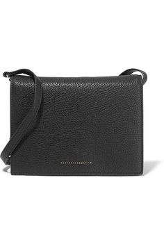 Black textured-leather (Calf) Snap fastening front flap Weighs approximately…