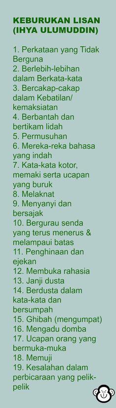 KEBURUKAN LISAN (IHYA ULUMUDDIN)  1. Perkataan yang Tidak Berguna 2. Berlebih-lebihan dalam Berkata-kata 3. Bercakap-cakap dalam Kebatilan/ kemaksiatan 4. Berbantah dan bertikam lidah 5. Permusuhan 6. Mereka-reka bahasa yang indah 7. Kata-kata kotor, memaki serta ucapan yang buruk 8. Melaknat 9. Menyanyi dan bersajak 10. Bergurau senda yang terus menerus & melampaui batas 11. Penghinaan dan ejekan 12. Membuka rahasia 13. Janji dusta 14. Berdusta dalam kata-kata dan bersumpah 15. Ghibah…