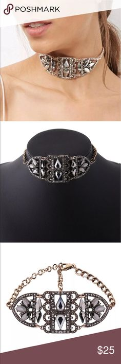 New✨ Rhinestone Crystal Choker  😍✨ ✨Fashion Jewelry ✨Alloy, Gold Plated, Rhinestones, Crystal ✨Very beautiful 😍   🔸Brand New✨ 🔸PRICE IS FIRM- already listed at lowest price  🔸If you want to save please look into bundling  🔸No Trades 🔸Will ship within 24 hours Monday-Friday  🚫Please -NO- Offers on items priced $10 and under AND ON SALE ITEMS‼️  🚫Serious Inquiries Only❣️  🔹Bundle one or more items from my boutique to only pay one shipping fee✨ Jewelry Necklaces