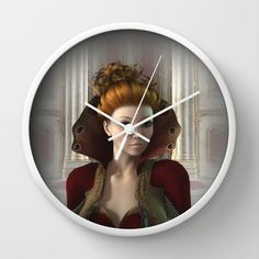 Queen Of Hearts Portrait Wall Clock by apgme - $30.00