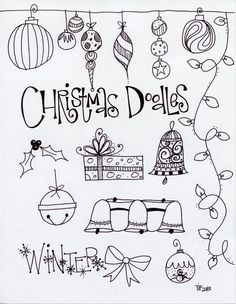 Today our focus was C h r i s t m a s . We began with some fun Christmas doodles. We did ornaments, strings of lights, presents, bells, bows...
