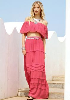 Look sweet in an instant in this coral cotton maxi skirt. It features a short falbala design and comes with an elastic waist for a good fit. | Lookbook Store Skirts