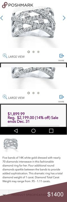 MAKE AN OFFER 70+ diamonds and 14k Stunning beyond words diamond and White Gold ring. Worn 3 times. I'm now a work from home mom and have no opportunity to wear. Paid over $2200 last year at Kay Jewelers. Have warranty info that is included. Price is negotiatable. Please make reasonable offer.   Why buy from me?💋My closet offers either New with tags or typically worn once 💋Smoke free home & carefully stored 💋TOP 10% Seller  💋TOP RATED 💋 FAST SHIPPER   💋Speedy response for questions or…