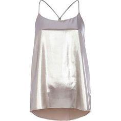 Silver metallic longline cami top £22.00