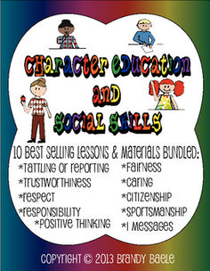 Bundled together is a collection of 10 character education and social skills lessons that all students need to know. These are life long skills that your students need to be successful in school, home, and in the community. Character Education Lessons, Social Skills Lessons, Social Skills Activities, Teaching Social Skills, Student Teaching, Life Skills, Elementary School Counselor, School Counseling, Social Emotional Development
