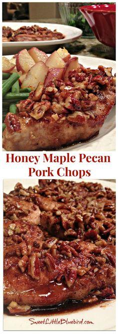 HONEY MAPLE PECAN PORK CHOPS - AH-MAZING!!!  My favorite pork chop recipe ever.  Simple to make too.  | SweetLittleBluebird.com