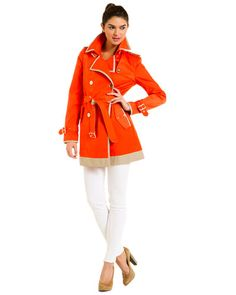 """Some of you have to get in on this: Sam Edelman """"Gigi"""" Mandarin & Tan Colorblock Trench Coat"""