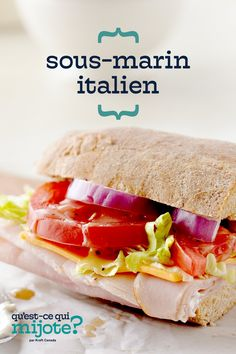 Sous-marin italien #recette Sandwich Sous-marin, Sandwich Fillings, Sandwiches, Home Recipes, Cooking Recipes, Italian Sub, Lunch To Go, Italian Dressing, Cooking Instructions