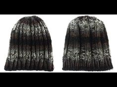 Loom Knit Reversable Chunky Ribbed Hat Beginning to End - YouTube