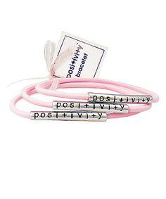 Love this Light Pink & Silvertone 'Positivity' Stretch Bracelet Set on #zulily! #zulilyfinds