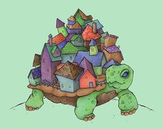 Tortoise Town illustration print by amidthetrees on Etsy