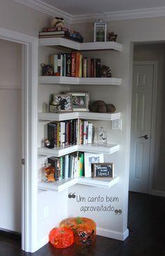 Dulce arteonline: Otimize espaço com prateleiras nos cantos da casa Mais