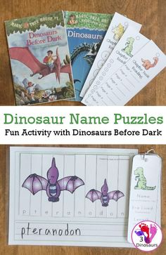 Free Spelling Dinosaurs Names With Dinosaurs Before Dark - a fun way to work on spelling dinosaur names with a fun activity. Dinosaur Puzzles, Dinosaur Activities, Spelling Activities, Book Activities, Dinosaurs, Teaching Geography, Teaching History, History Education, Dinosaur Information