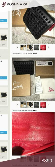 BEWARE! @kourtglamcloset is a SCAMMER!! She is scamming people with a fake wallet. Authentic louboutin wallets are stamped, at least this style has a stamped logo, not a metallic print. Authentic louboutin wallets don't come with authenticity cards.   At first I asked her if she has proof of authenticity, but she blocked me and I made a new account to call her out on her fakeness.  Please share and get her listing removed! Christian Louboutin Bags Wallets
