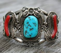 Navajo Native American vintage turquoise and coral cuff.