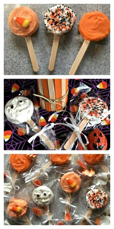 Spooky Halloween Lollipops are fun for party favors, Halloween parties and trunk or treat events. Portable, packable and a whole lot of yum! The Halloween edible craft and recipe all in one. #halloweenpartyfavor #halloweenlollipopsdiy #chocolatehalloweensnack #trunkortreat #halloweenpartyidea