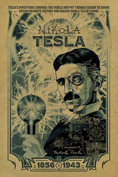 12x18 on 65# cover weight kraft paper A tribute to Nikola Tesla.  Tesla was born in 1856, reportedly during an electrical storm. In 1881 he became an electrical engineer. He developed the induction motor still used today. He came to the US and worked for Thomas Edison who promised him $50,000. After much work that made Edison famous, Edison refused to pay and Tesla went on his own. He developed the Tesla coil which in 1899 he built and lit a fluorescent bulb a mile away, through the ai..