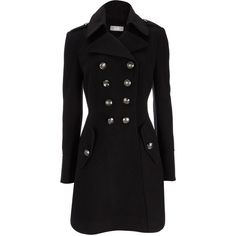 Black Military Coat ($115) ❤ liked on Polyvore