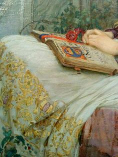 Such a peaceful, comforting image. St Cecilia (detail) ~ Artwork by English Pre-Raphaelite Painter John William Waterhouse - John William Waterhouse, Reading Art, Woman Reading, Pre Raphaelite Brotherhood, Morris, Love Art, Painting & Drawing, Cave Painting, Body Drawing