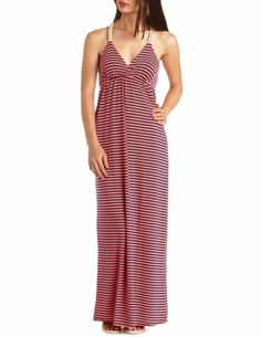 Rope-Strap Racerback Striped Maxi Dress: Charlotte Russe