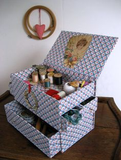 my sewing box made wit drawers and with cross stitch cover