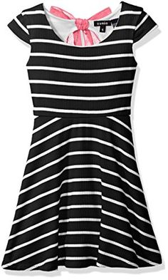 Zunie Girls Big Girls Capsleeve Ribbed Striped Skater Dress with Chiffon Bow Black 16 ** See this great product.