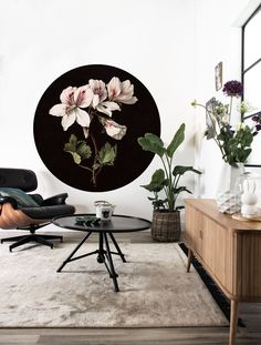 Small Wallpaper Circle in White Flowers 071 by KEK Amsterdam Wall Wallpaper, Pattern Wallpaper, Amsterdam Wallpaper, Small White Flowers, Burke Decor, Wall Treatments, Natural World, Wall Design, Logo Design