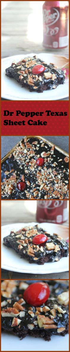 Dr Pepper Texas Sheet Cake is rich, chocolate with a shiny sweet Dr Pepper fudge… Chocolate Party, Paleo Chocolate, Chocolate Brands, Baking Recipes, Cake Recipes, Dessert Recipes, Baking Desserts, Dessert Ideas, Great Desserts