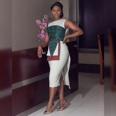 A LOOK! Looks like our Envelop Pencil dress is trending and we couldn't be any happier! slaughtered this look! Get it gurl! African Inspired Fashion, Latest African Fashion Dresses, African Print Dresses, African Print Fashion, Africa Fashion, African Dress, Classy Dress, Classy Outfits, Chic Outfits