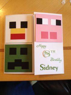 Comission Minecraft Card Thank You Cards From Kids, Kids Cards, Bday Cards, Minecraft Party, Punch Art, Cute Cards, Party Time, Stampin Up, Card Ideas