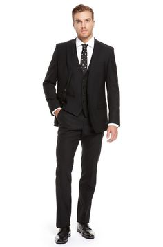 BOSS Black Wool Blend Three-Piece Suit