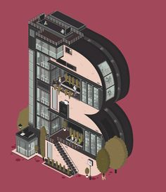 Whimsical, Animated GIFs Of Apartment Buildings Shaped Like Letters - DesignTAXI.com