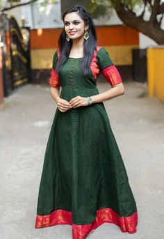 Sungudi - Forest Green Madhurai Zari Border Maxi Dress - A color combination that your have in your collection. Kurti Neck Designs, Dress Neck Designs, Kurti Designs Party Wear, Blouse Designs, Chudidhar Designs, Lehenga Designs, Blouse Patterns, Indian Gowns Dresses, White Maxi Dresses